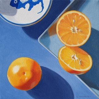This Shows Geometric Shapes Because The Orange Is A Circle Geometric Shape Nature Fruit Painting Still Life Fruit Fruit Art