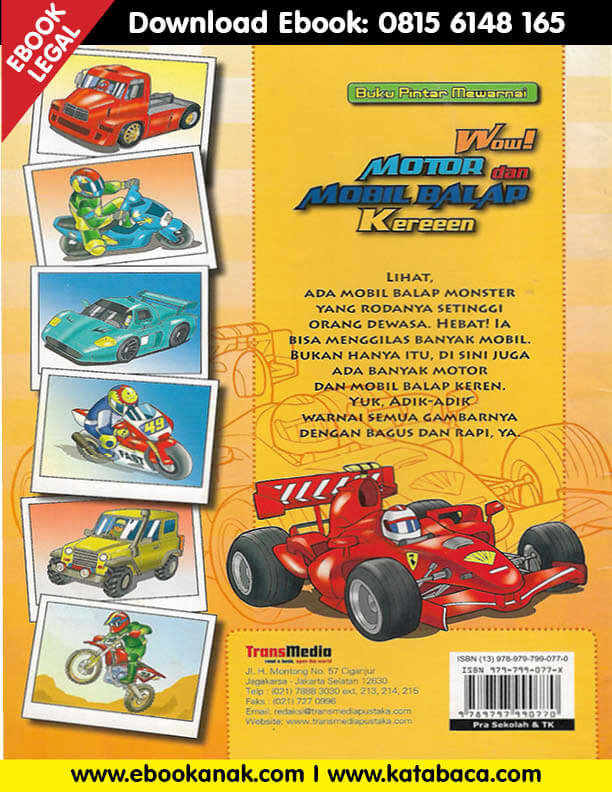 Buku Pintar Mewarnai Wow Motor Dan Mobil Balap Kereeen Ebook Anak Mobil Balap Buku Mobil