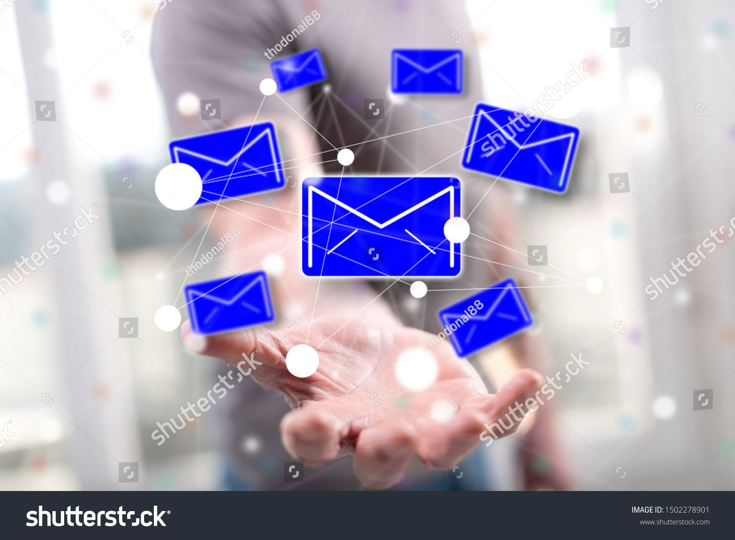 Message concept above the hand of a man in background