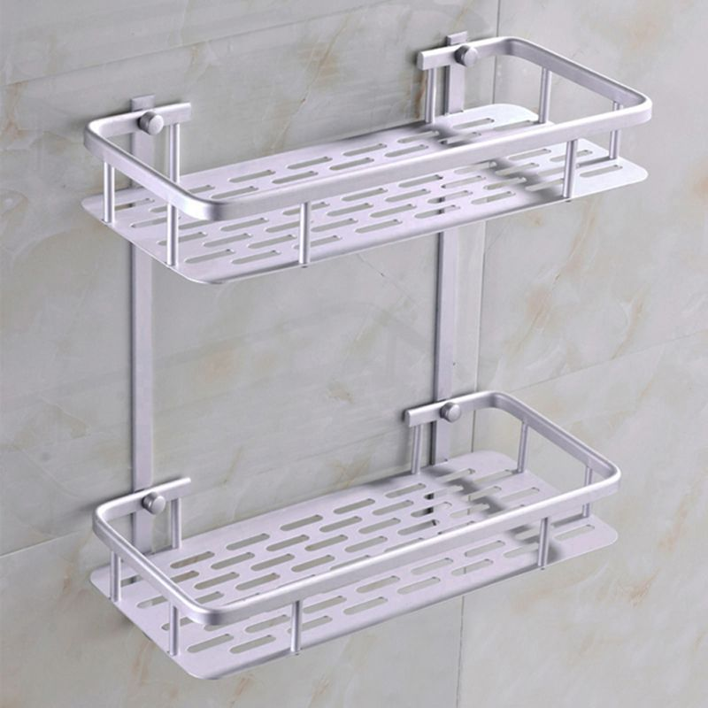 Fashion Dual Tier Bathroom Corner Shelf Basket Aluminum Alloy ...
