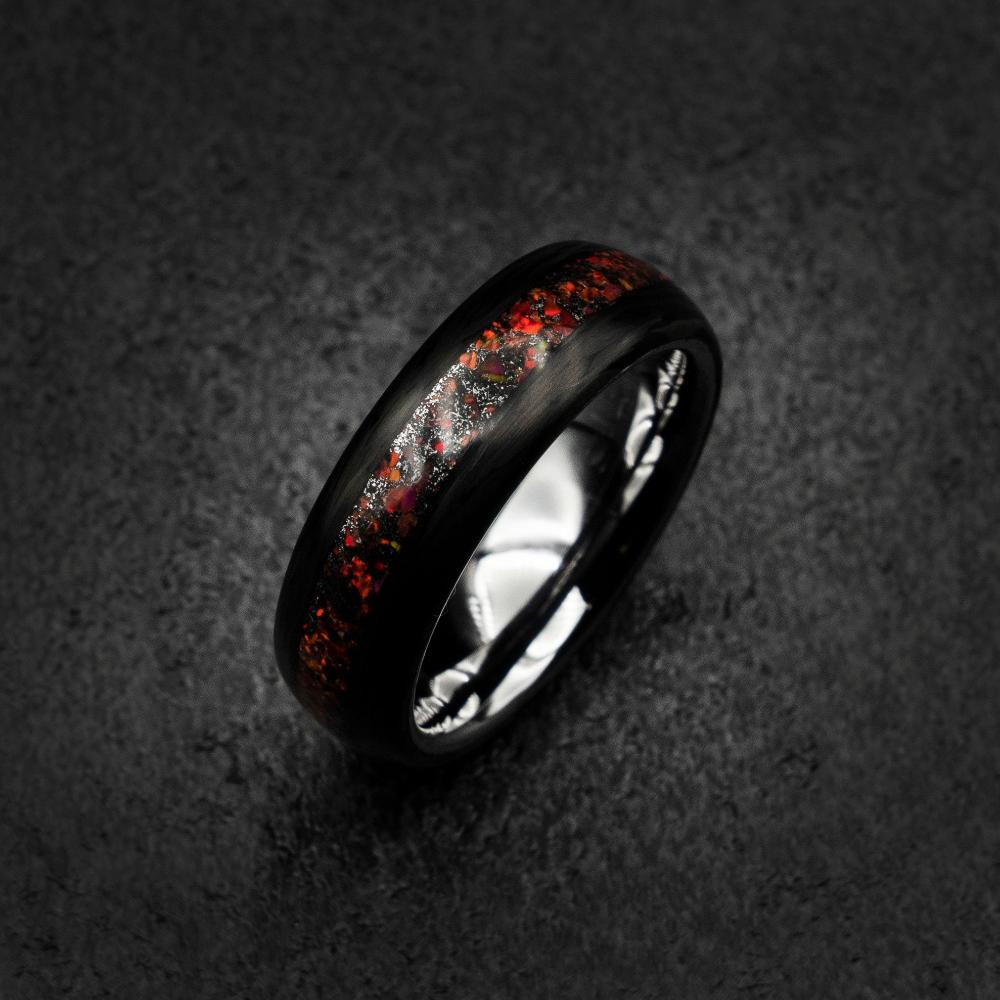 Carbon Fiber Ring, black ring, mens ring, carbon wedding