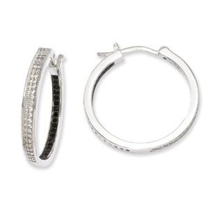 28MM Black White CZ 2.5MM Hoop Earrings In .925 Sterling Silver Available Exclusively at Gemologica.com