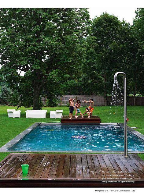 Great Small Pool With Wood Deck Jumping Platform And Shower Sixx Design Backyard Pool Cool Pools Backyard