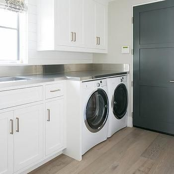 Laundry Room Stainless Steel Countertops Transitional Laundry