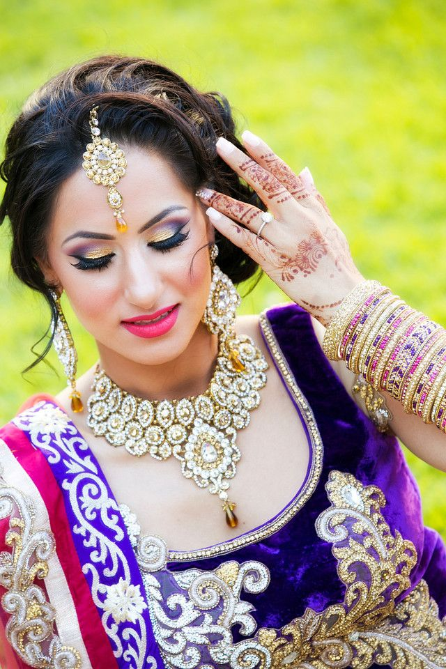 Purple And Gold Pink Wedding Lengha Bridal Makeup Indian Jewelry
