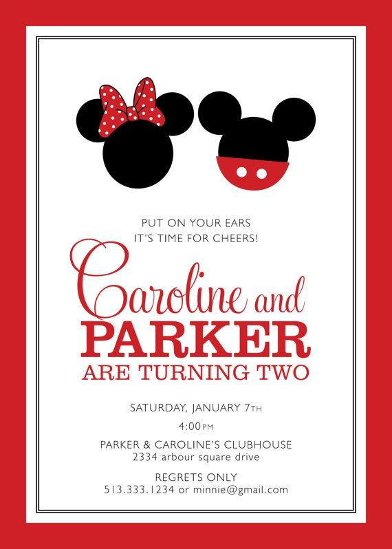 Resultado de imagen para minnie and mickey birthday invitation – Minnie and Mickey Birthday Invitations