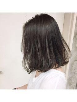 シマ アオヤマ Shima Aoyama 暗髪コバルトグレーハイライト ロブ