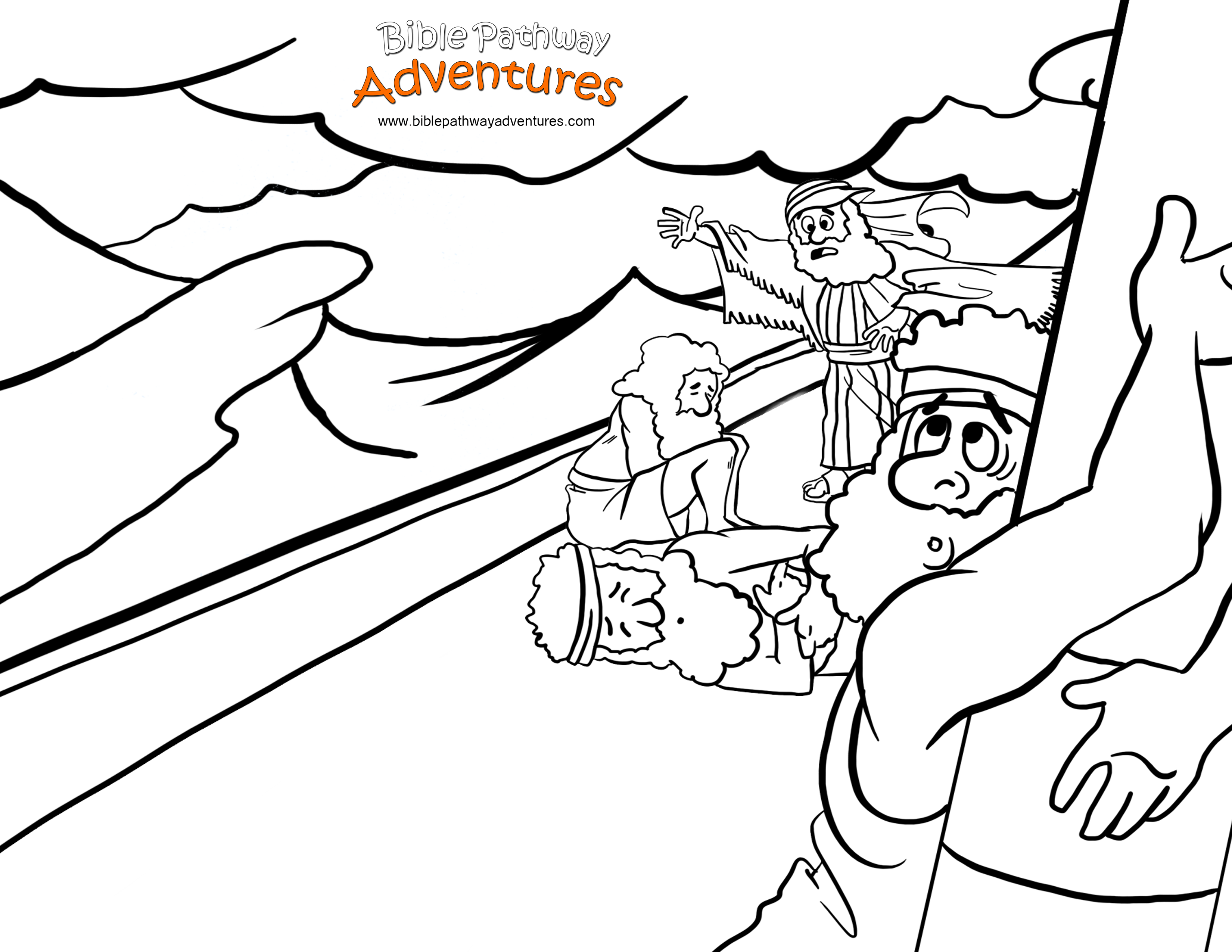 Childrens coloring sheet of saul and ananias -  A Coloring Page For Kids From The Story Shipwrecked Paul And The Sailors