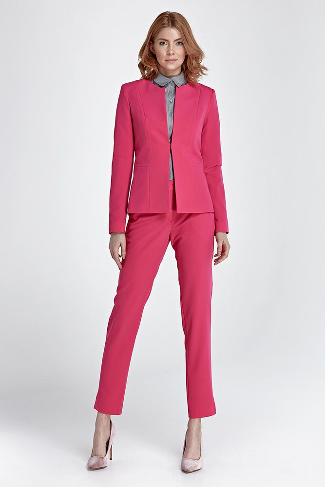Rose Nife Femme Fuschia Tailleur Pantalon Veste Costume Ensemble qSXw0v0