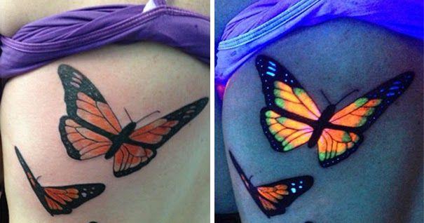 UV Ink: Blacklight Tattoo Designs: Butterfly UV Tattoo