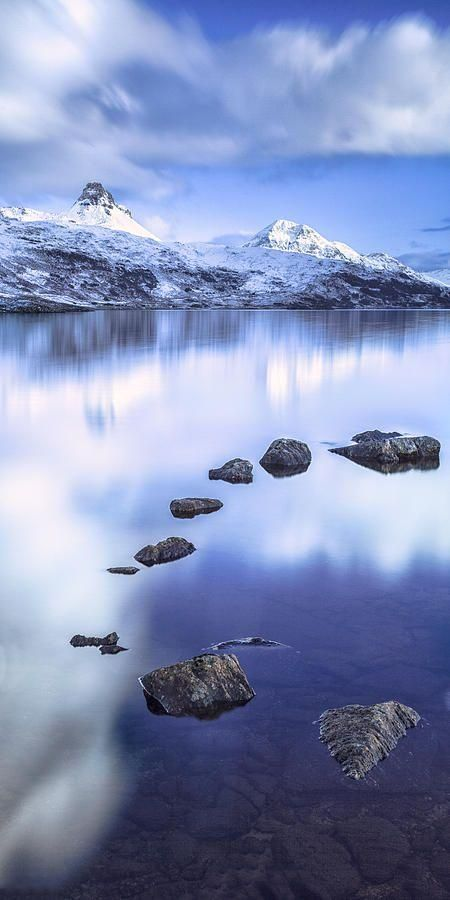 Scotland Art | Fine Art America : ~~Stac Pollaidgh In Scotland ~ fabulous blue reflections in the perfectly still water makes a dramatic image of winter mountains in the background standout by Lynne Douglas~~  #Scotland #Fine #America