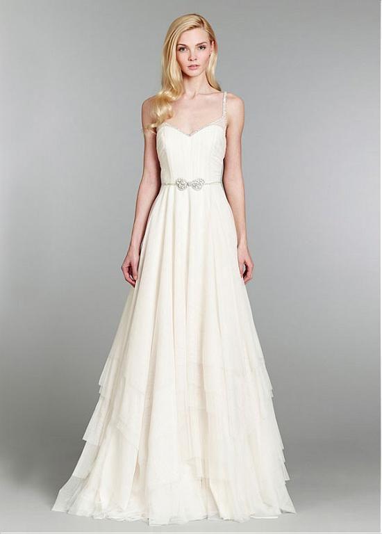 80a4c3a5d78 Elegant Tulle Spaghetti Straps Neckline A-line Wedding Dresses with  Beadings   Rhinestones