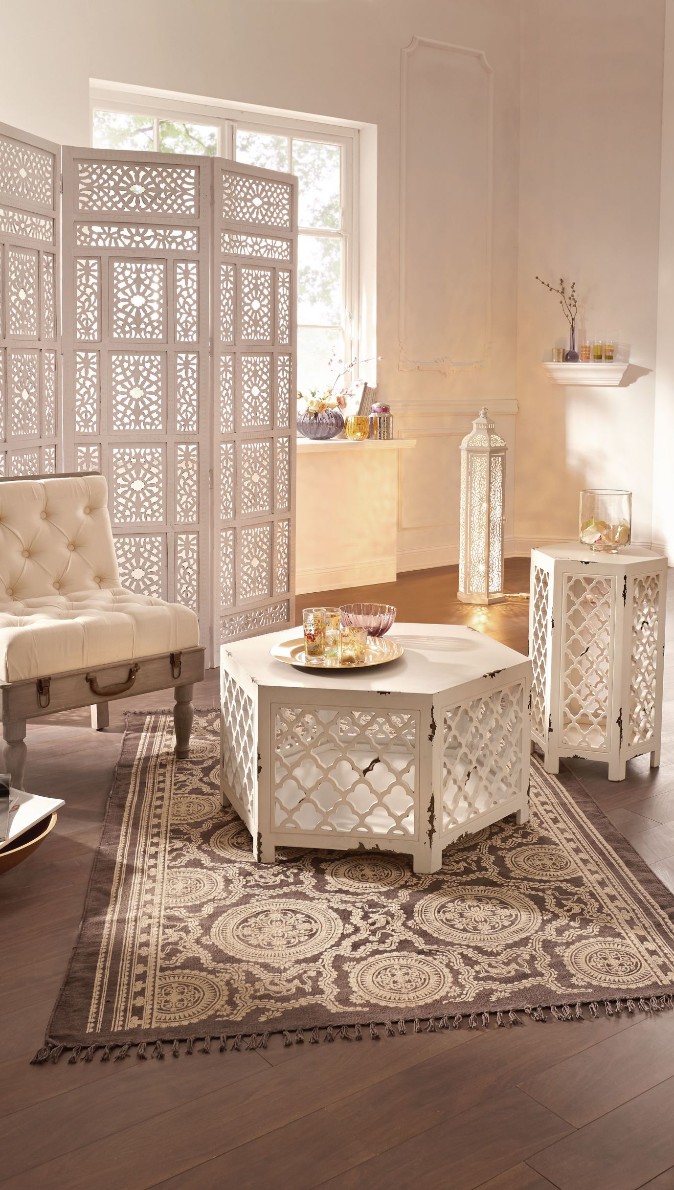 White Hexagonal Side Table With Moroccan Inspired Design