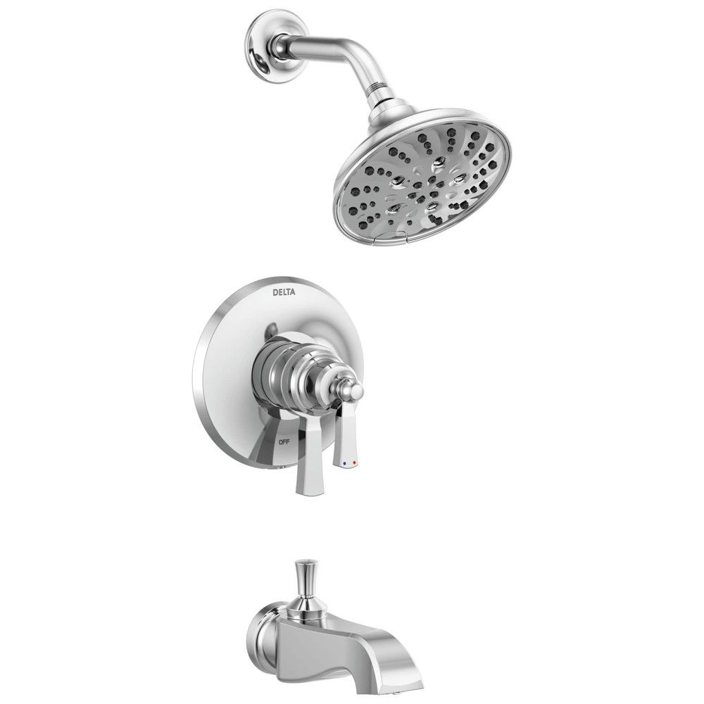 Delta Faucet T17456 Dorval Tub And Shower Trim Package With 1 75 Gpm Multi Function Shower Head Chrome Grey Shower Tub Delta Faucets Faucet