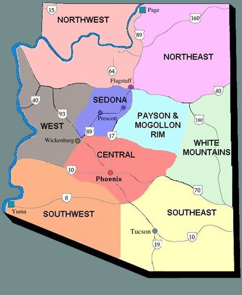 Arizona Map showing location of Mogollon Rim (Tonto Basin) and