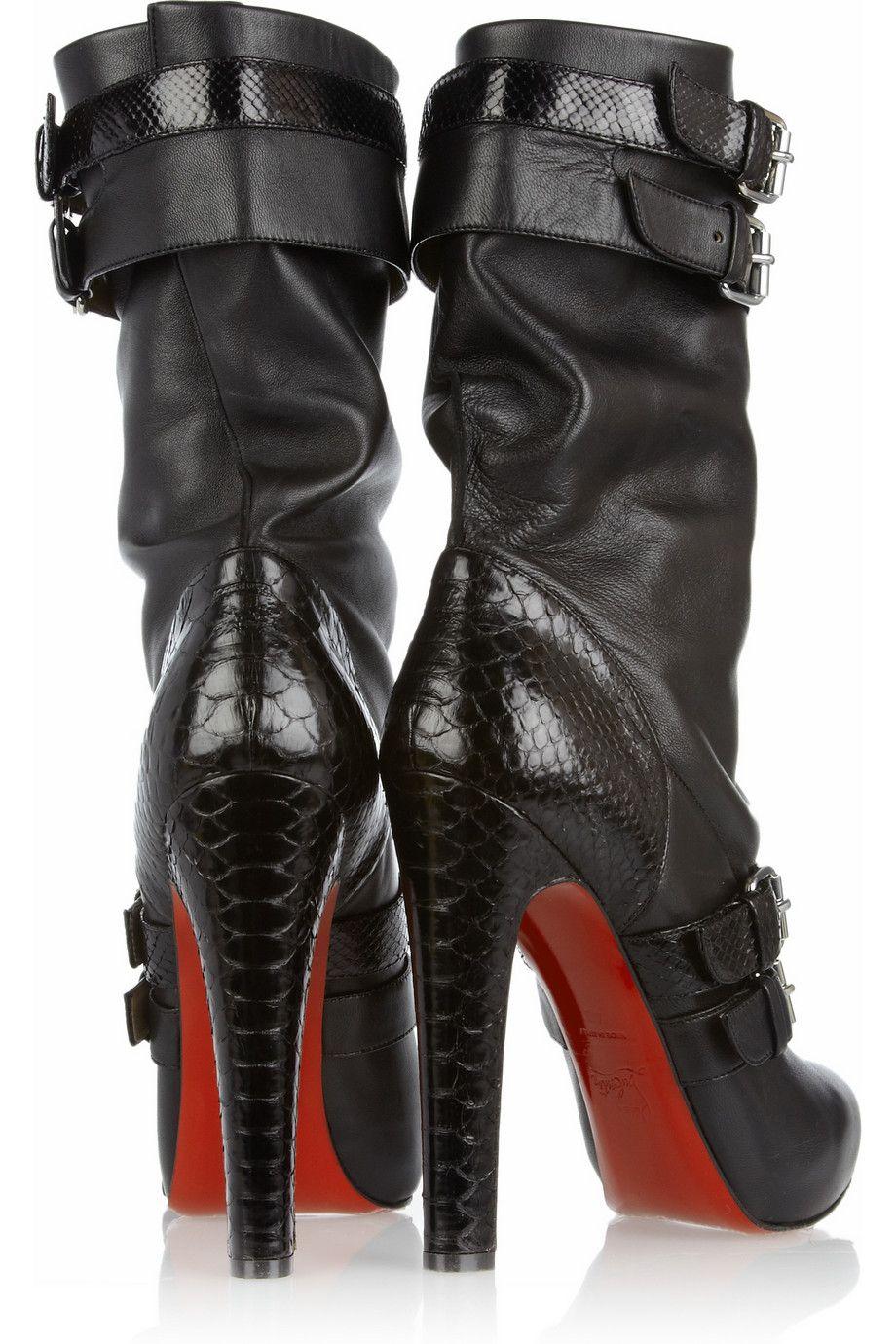 best service 7c607 cac38 Shoeniverse: Loubi Bike pull on heeled biker boots by ...