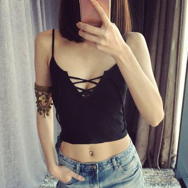 504660a0c2d Crop Tops Women 2017 Summer New Womans Short Bralette Low Cut Tanks Top  Bandage