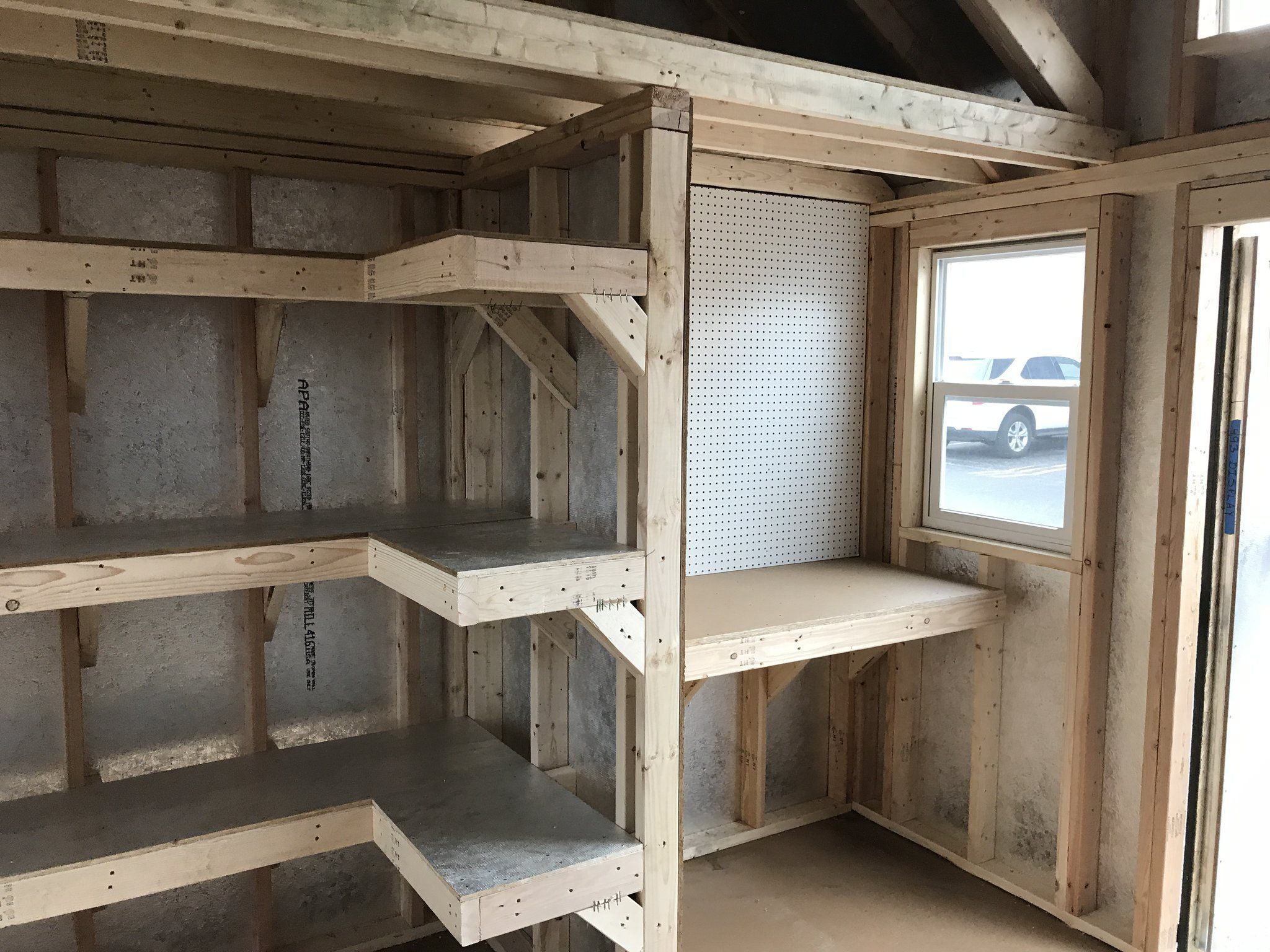Charmant Shelving, Pegboards, A Workbench, And A Loft. This Storage Shed Is Ready  For Just About Anything!
