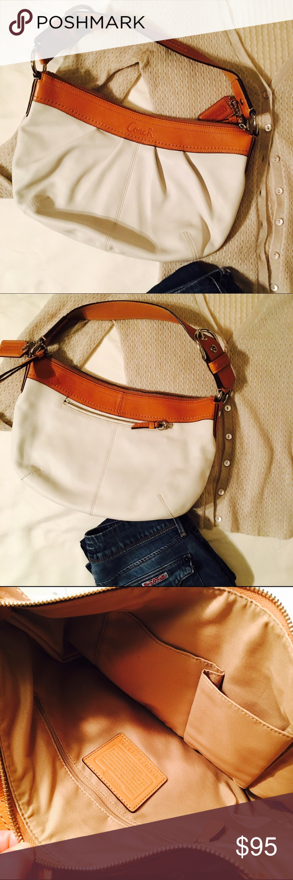 🍒White and Tan Coach Bag NWOT Never used. Perfect condition. Authentic as is everything I own & post. Coach Bags Shoulder Bags