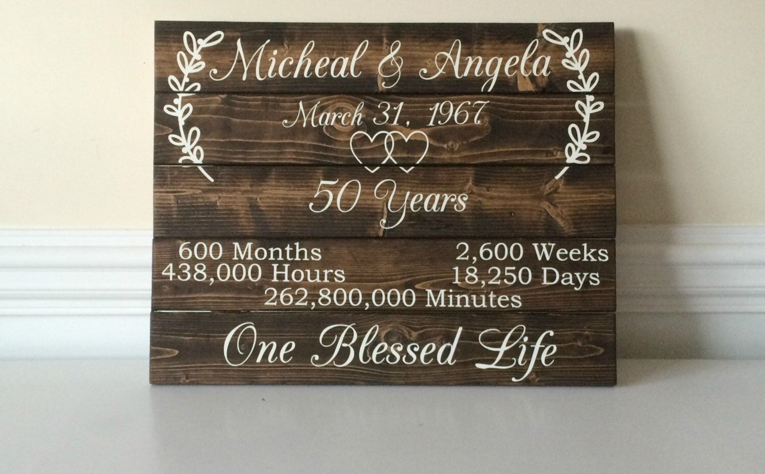Ideas For 50th Wedding Anniversary Gifts For Parents: 50 Year Anniversary- 50th Anniversary Ideas- Custom Wood