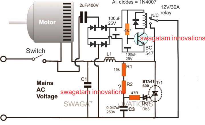 Soft Start For Motors With Relay And Triac Water Pump Motor Circuit Projects Electronics Circuit
