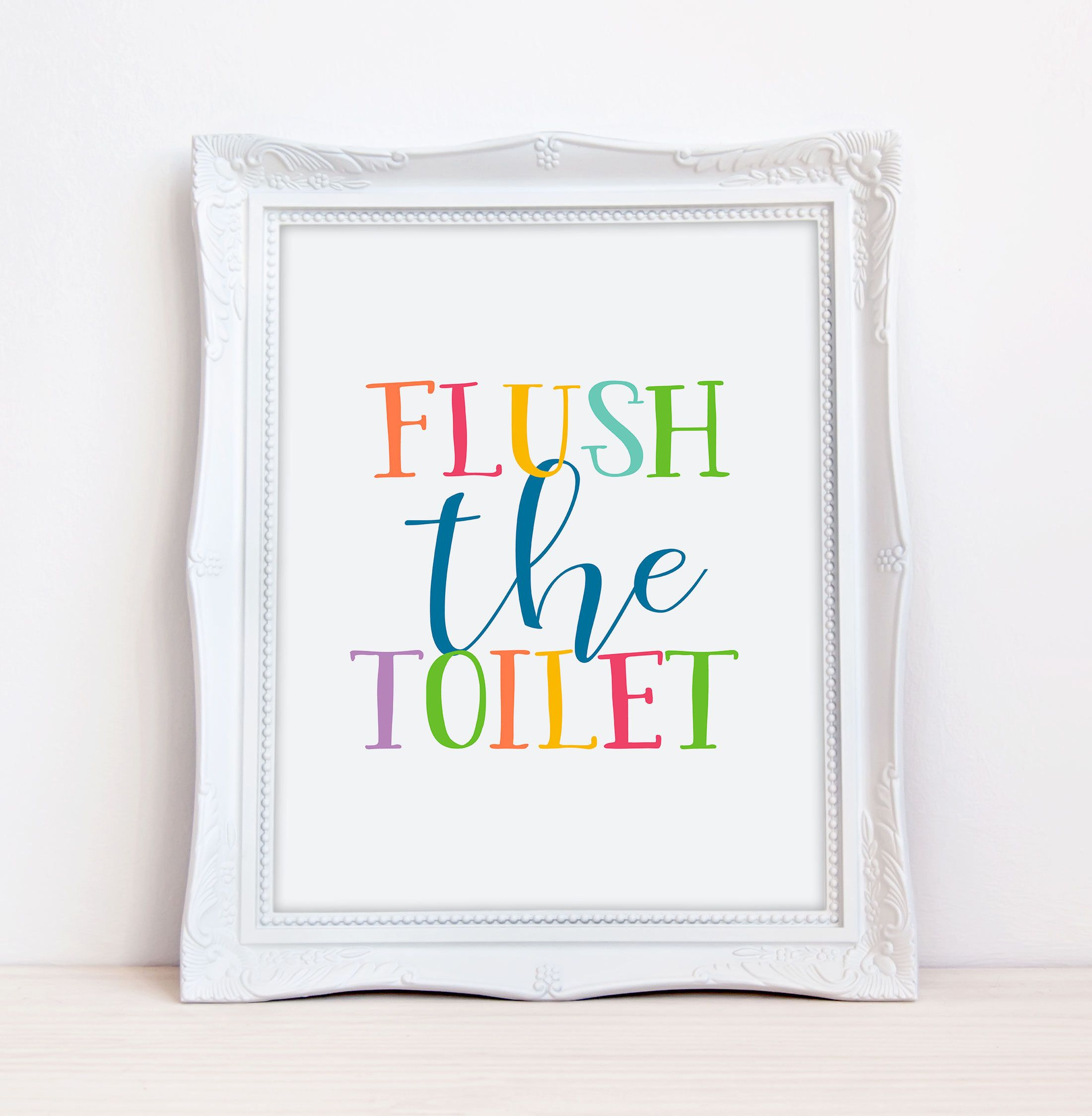 Funny bathroom signs,Kids bathroom art,Flush sign,Kids bathroom ...