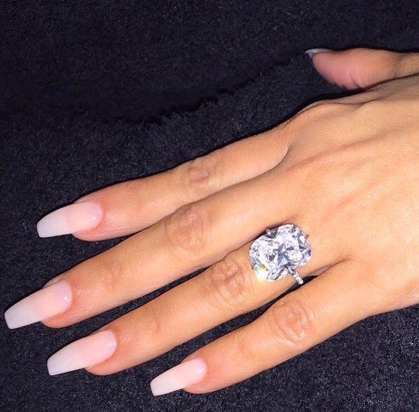 Natural Acrylic Nails Kim Kardashian Wedding Ring Engagement Sterling Silver Promise Rings
