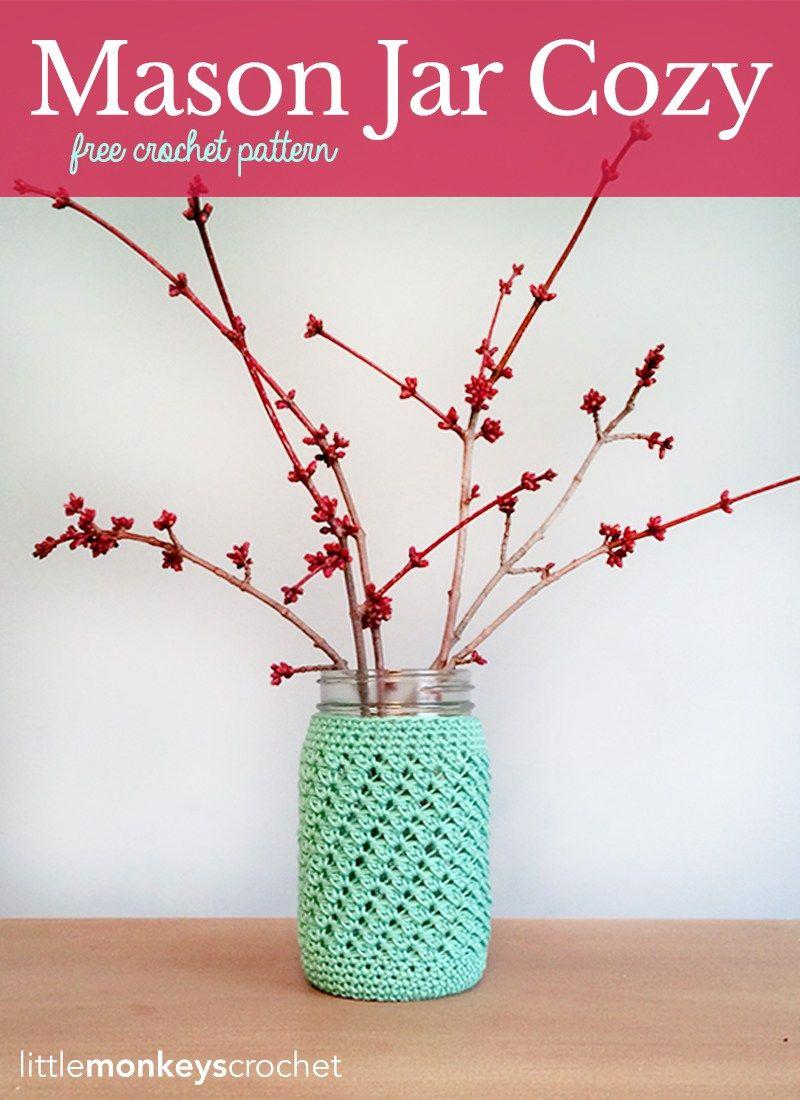 Mason Jar Cover (Free Pattern) | Ganchillo crochet, Floreros y Ganchillo