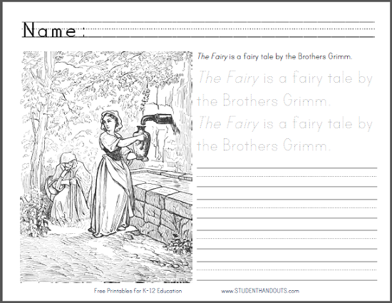 The Fairy by the Brothers Grimm Printable text of this