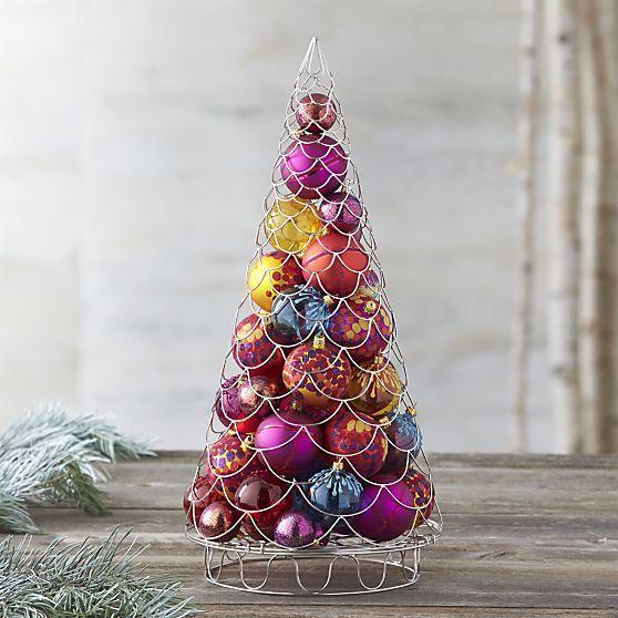 Silver Garland Ornament Tree in Decor | Crate and Barrel ...