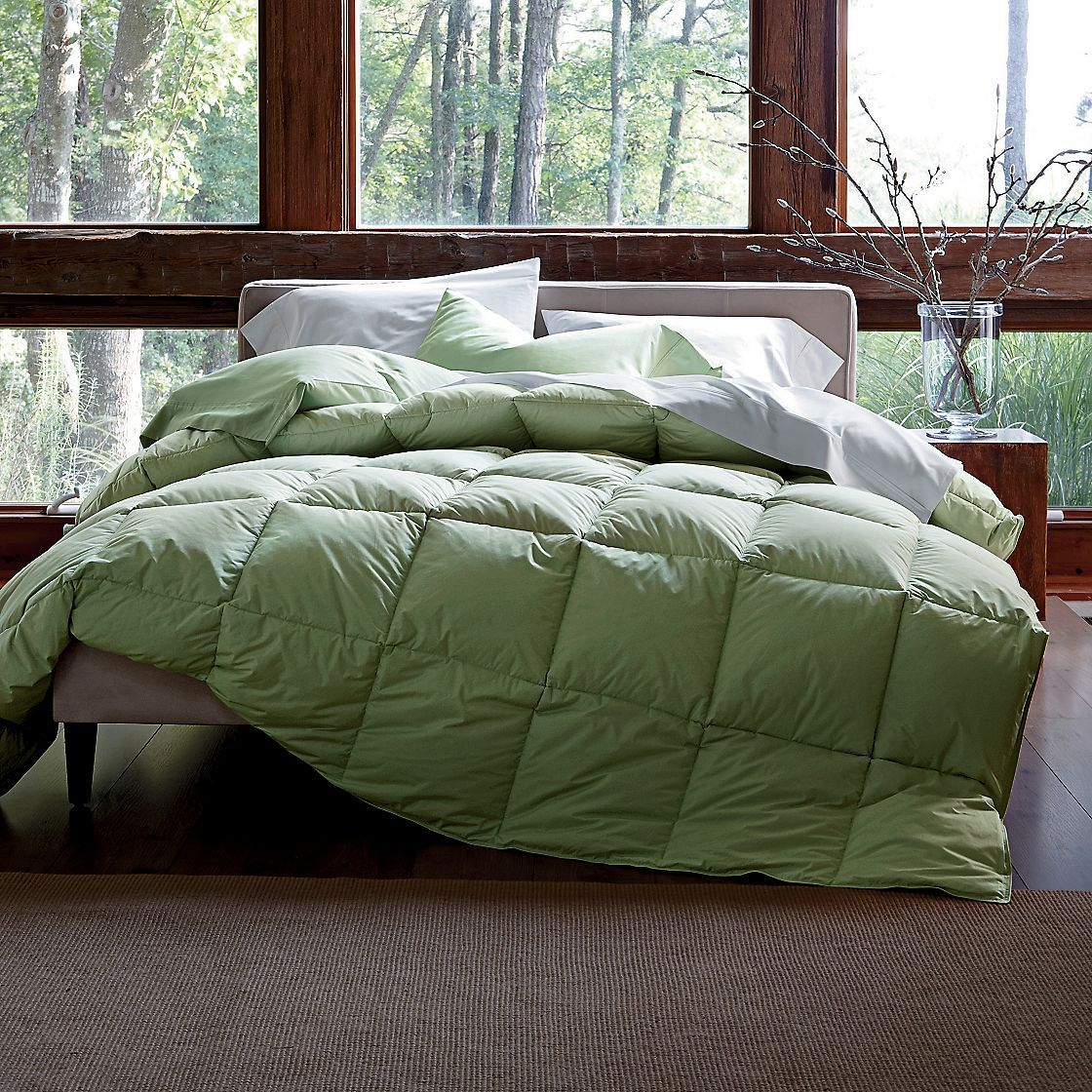 goose comforter fill striped season weight feather closeup oversized all down power white
