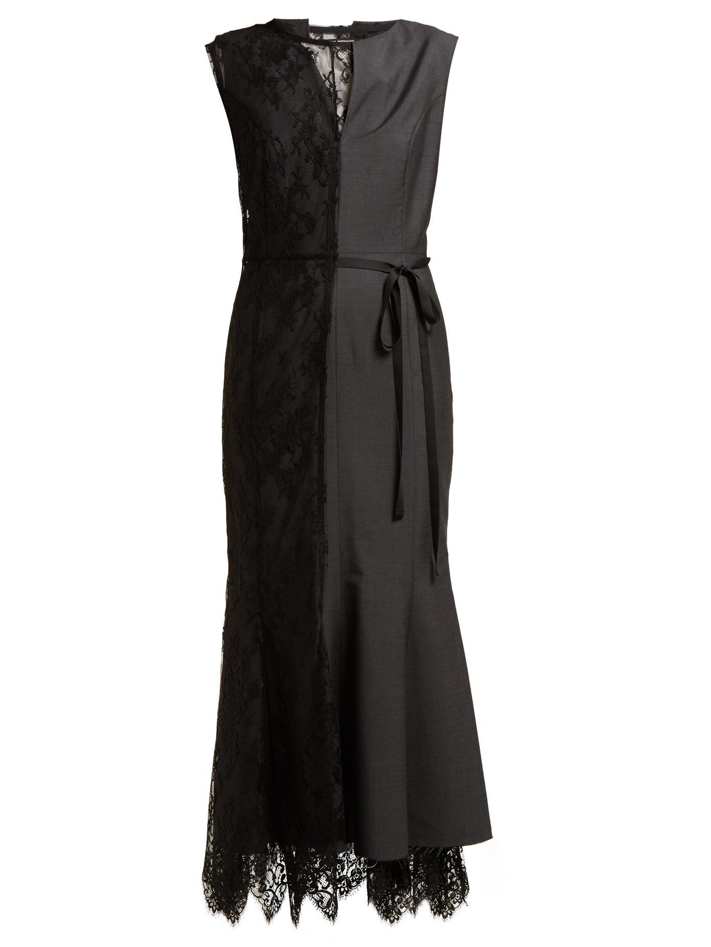 Lace Slip Overlay Wool Blend Dress Junya Watanabe