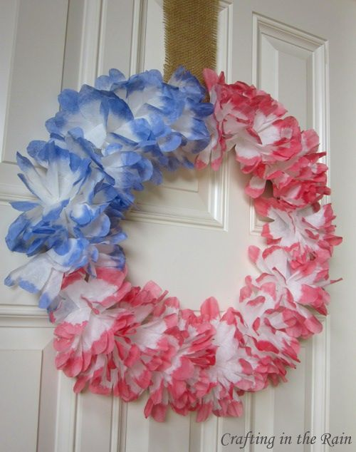 Dyed Coffee Filter Wreath for the 4th | Fourth of July & Memorial