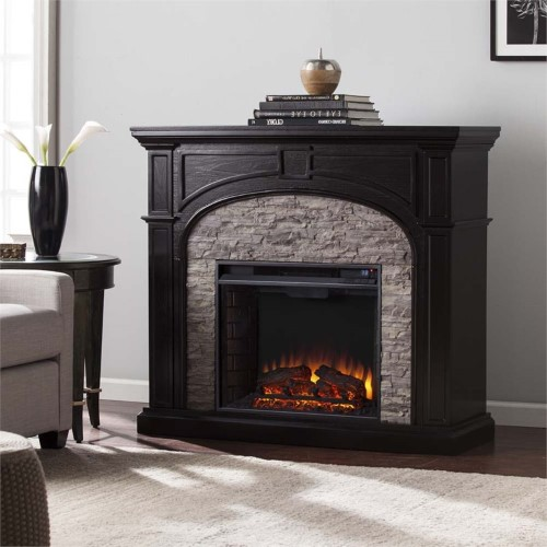 Bowery Hill Electric Fireplace In Ebony And Gray Faux Stone