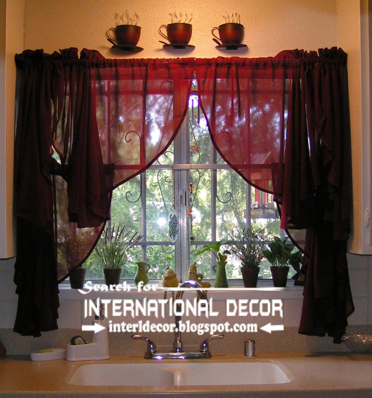 Burgundy Curtains Designs For Kitchen Window