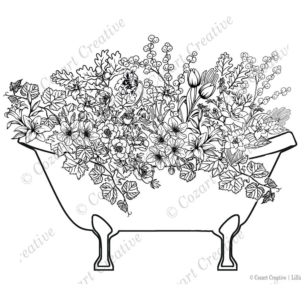 The Garden Of Bath A Fantastical Floral Bouquet Coloring Page