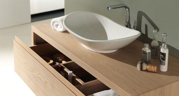 Aither minimalistisch badkamermeubel in natuureik met ovalen