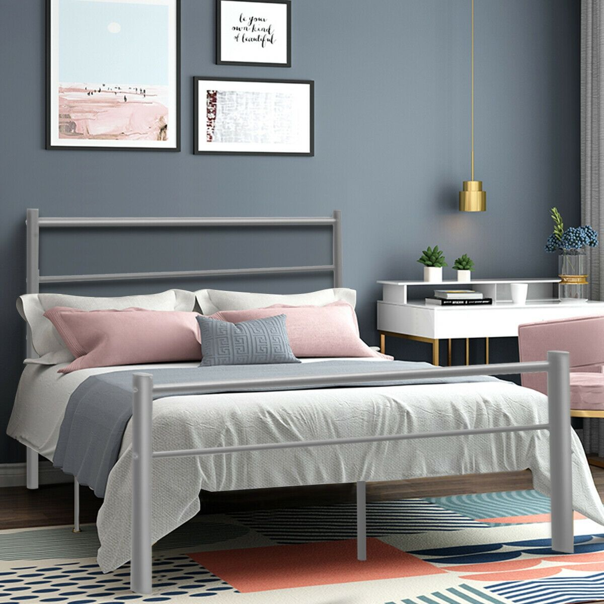 """77.5"""" x 55.5"""" x 35.0"""" 10 Legs Full Size Metal Bed Frame"""