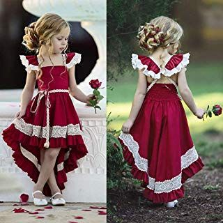 Jshuang Baby Girls Sleeveless Backless Lace Irregular Skirt Princess Bridesmaid Pageant Gown ... #babygirlpartydresses