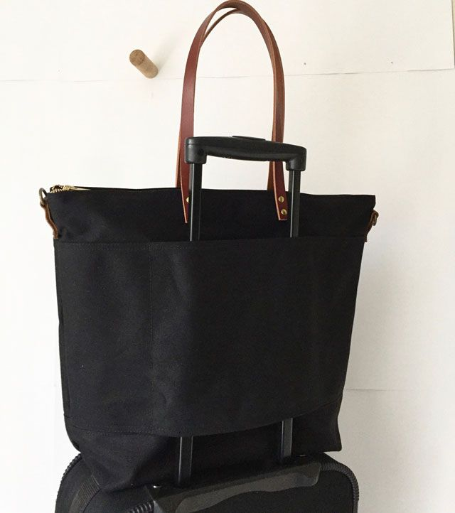 eec3b6bf9 Custom Bag: Large Carrier Tote with 15″ Laptop Sleeve | Waxed Canvas and  Leather | Black with Brown Straps | Modern Coup