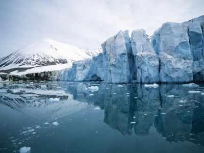 Reflection of Icebergs in Water