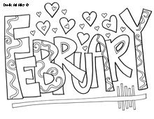 Month Coloring Pages Valentine Coloring Pages Coloring Pages February Colors