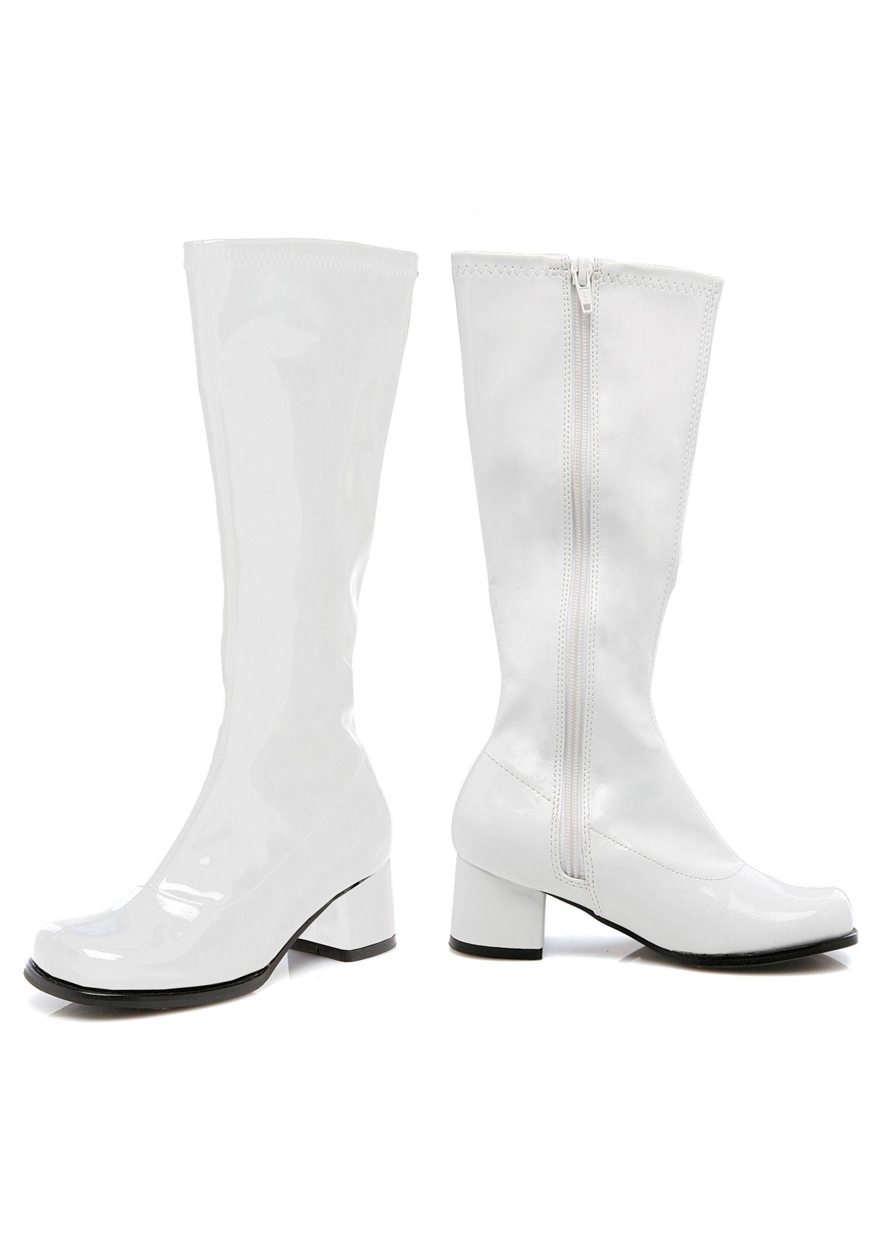 Child Kids Girls White Gogo Costume Boots 70/'s Size 2 3