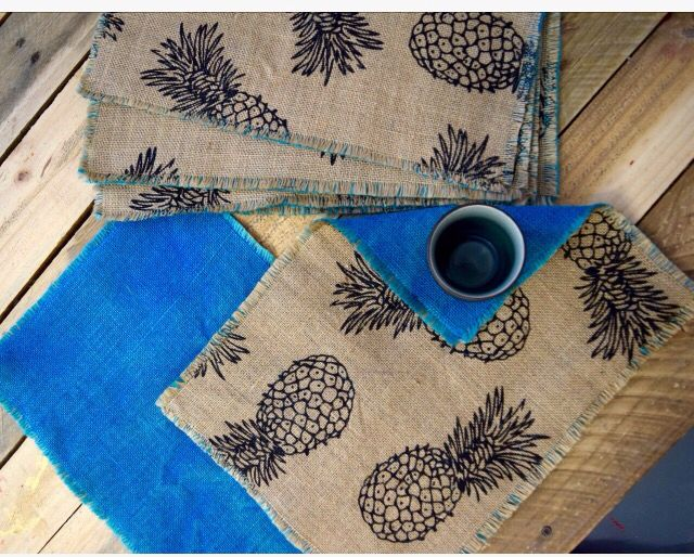 Hot of my machine, rustic hessian double-sided placemats in a funky pineapple print and lovely teal. https://www.etsy.com/listing/266463925/rustic-hessian-double-sided-placemats #rainhailshinedesigns