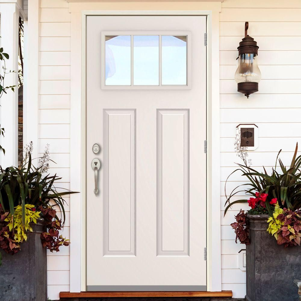 Steves Sons 36 In X 80 In 3 Lite Left Hand Outswing Primed White Steel Prehung Front Door With 4 In Wall St30 3l 30 4olh Front Door Front Door Design Steel Doors Exterior