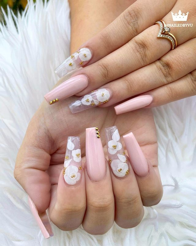 Cozy Cardigan Encapsulated 3d Flowers In 2021 Encapsulated Nails Graduation Nails 3d Flower Nails
