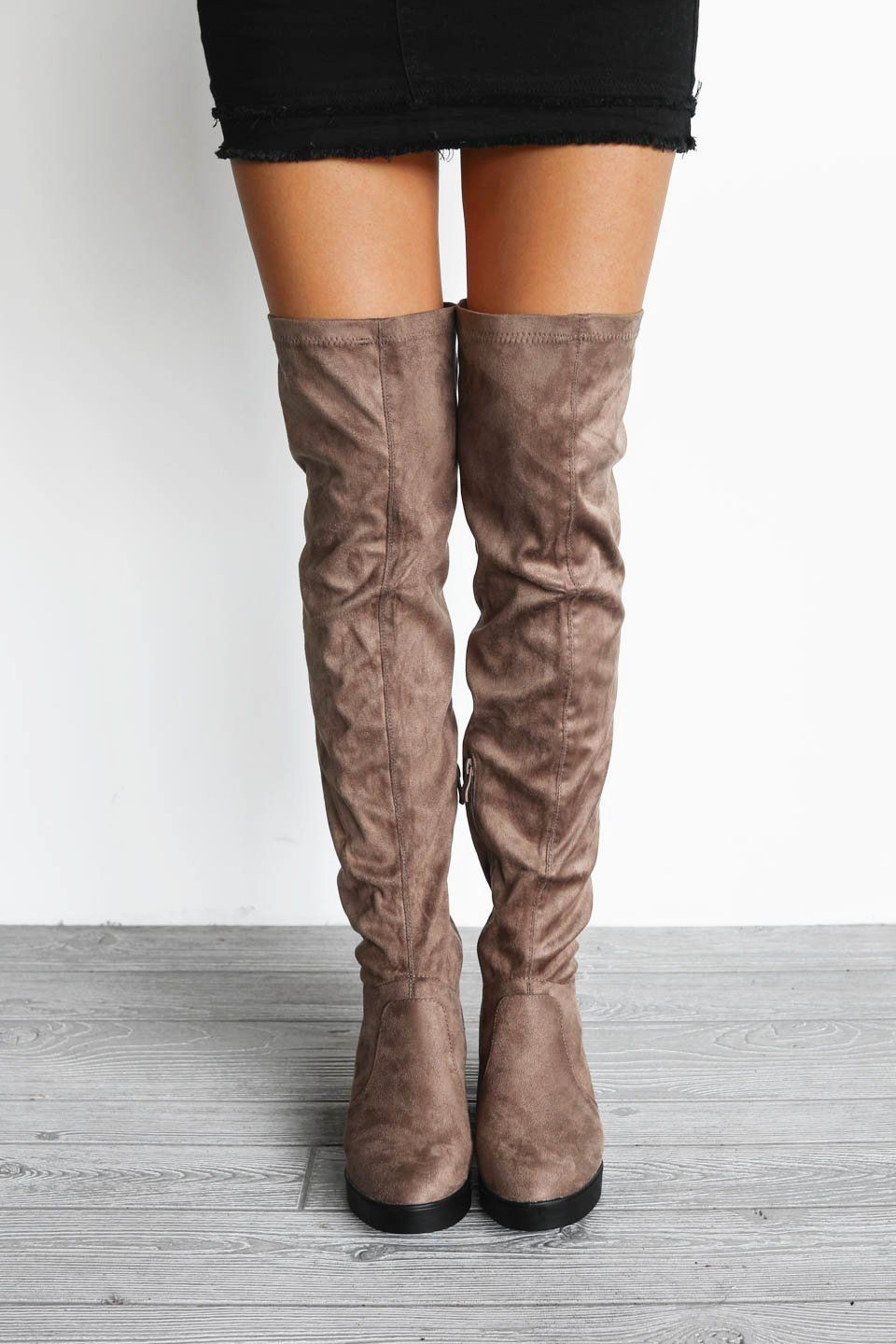 Shopping Spree Taupe Wedge Suede Knee