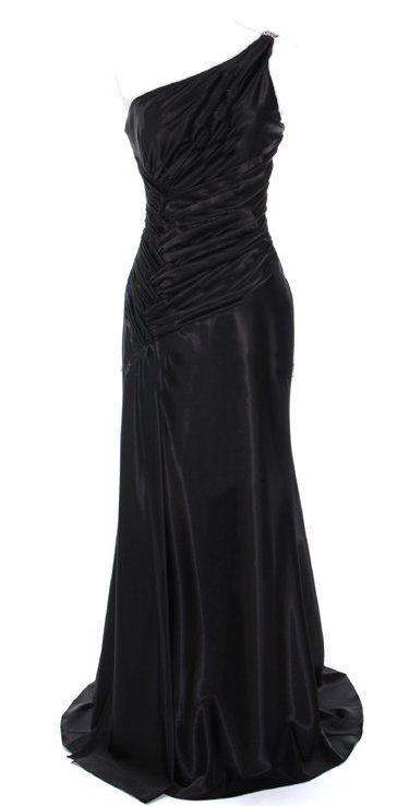 Clearance Black Evening Dress With Rhinestone Straps One Shoulder