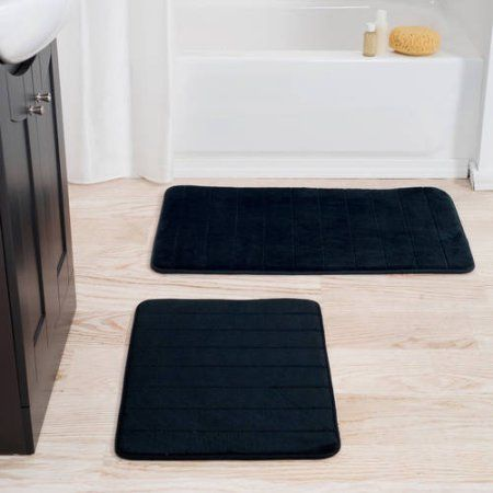 Set Of 2 Microfiber Memory Foam Bath Mats Plush Bathroom Rugs