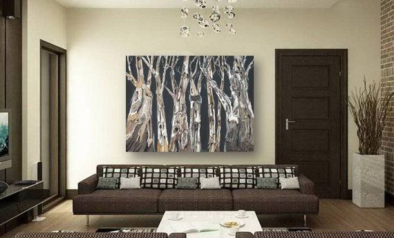 Extra large wall art oversized living dining room masculine decor huge canvas print tree trunk gray black white artwork decor office